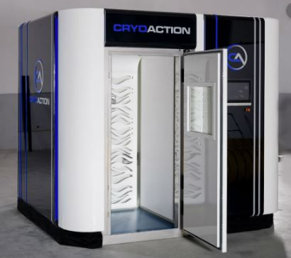 Breathable air cryotherapy machine with door open in blue, black, and white colors.