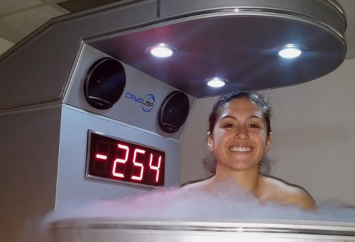 How often should you do cryotherapy?  Woman in cryotherapy chamber.