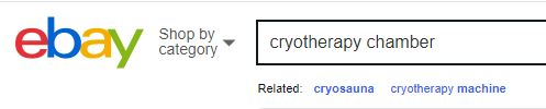 Picture of ebay search window with what is your cryotherapy chamber worth in text box.